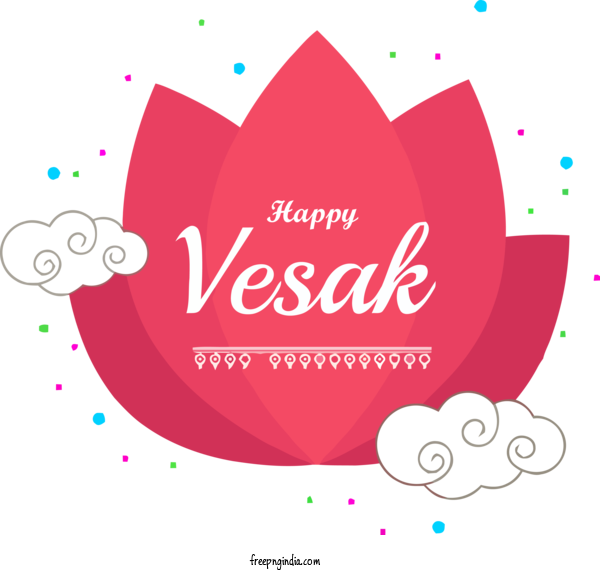 Transparent Vesak Text Logo Font For Buddha Purnima for Vesak
