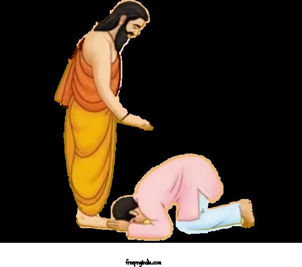 Transparent Guru Purnima Yellow Leg Kneeling For Vyasa Purnima for Guru Purnima