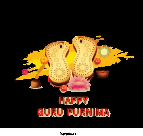 Transparent Guru Purnima Footwear Text Font For Vyasa Purnima for Guru Purnima