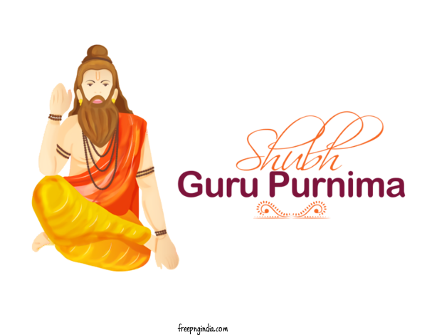 Transparent Guru Purnima Orange Font Logo For Vyasa Purnima for Guru Purnima